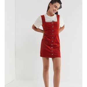 Urban Outfitters Red Corduroy button up dress